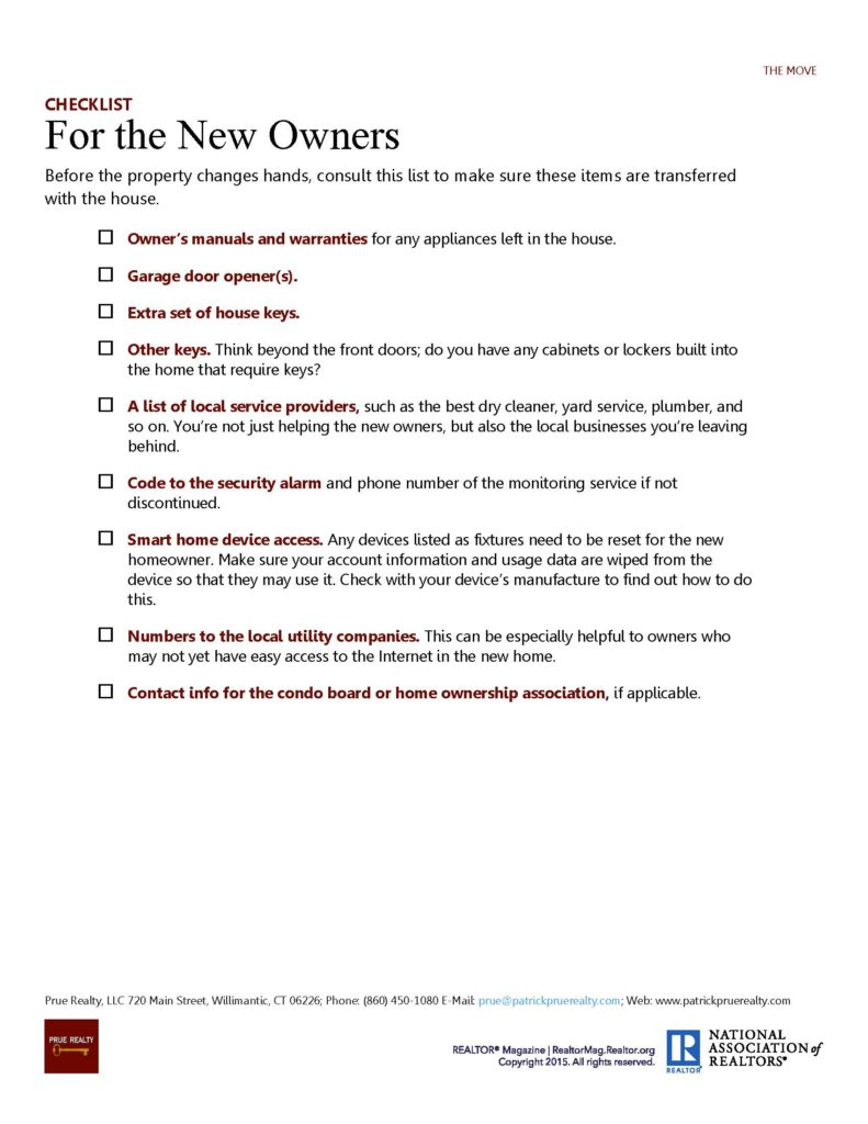 Checklist for the New Owners